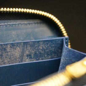 レーデルオガワ社製オイルコードバンのネイビー色のラウンドファスナー長財布(ゴールド色)-1-10