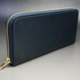 レーデルオガワ社製オイルコードバンのネイビー色のラウンドファスナー長財布(ゴールド色)-1-2