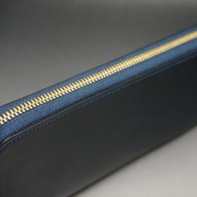 レーデルオガワ社製オイルコードバンのネイビー色のラウンドファスナー長財布(ゴールド色)-1-3