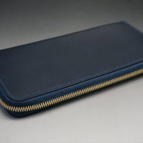 レーデルオガワ社製オイルコードバンのネイビー色のラウンドファスナー長財布(ゴールド色)-1-4