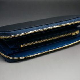 レーデルオガワ社製オイルコードバンのネイビー色のラウンドファスナー長財布(ゴールド色)-1-5