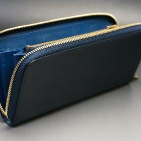 レーデルオガワ社製オイルコードバンのネイビー色のラウンドファスナー長財布(ゴールド色)-1-6