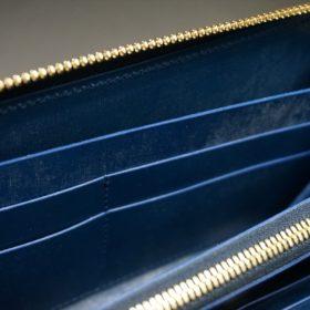 レーデルオガワ社製オイルコードバンのネイビー色のラウンドファスナー長財布(ゴールド色)-1-9