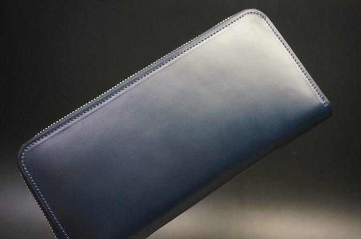 レーデルオガワ社製オイルコードバンのネイビー色のラウンドファスナー長財布(ゴールド色)-2-1