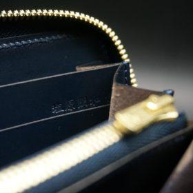 レーデルオガワ社製オイルコードバンのネイビー色のラウンドファスナー長財布(ゴールド色)-2-10