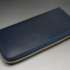 レーデルオガワ社製オイルコードバンのネイビー色のラウンドファスナー長財布(ゴールド色)-2-4