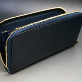 レーデルオガワ社製オイルコードバンのネイビー色のラウンドファスナー長財布(ゴールド色)-2-6