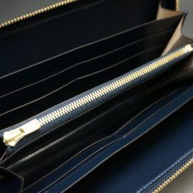 レーデルオガワ社製オイルコードバンのネイビー色のラウンドファスナー長財布(ゴールド色)-2-7