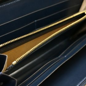 レーデルオガワ社製オイルコードバンのネイビー色のラウンドファスナー長財布(ゴールド色)-2-8