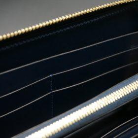 レーデルオガワ社製オイルコードバンのネイビー色のラウンドファスナー長財布(ゴールド色)-2-9