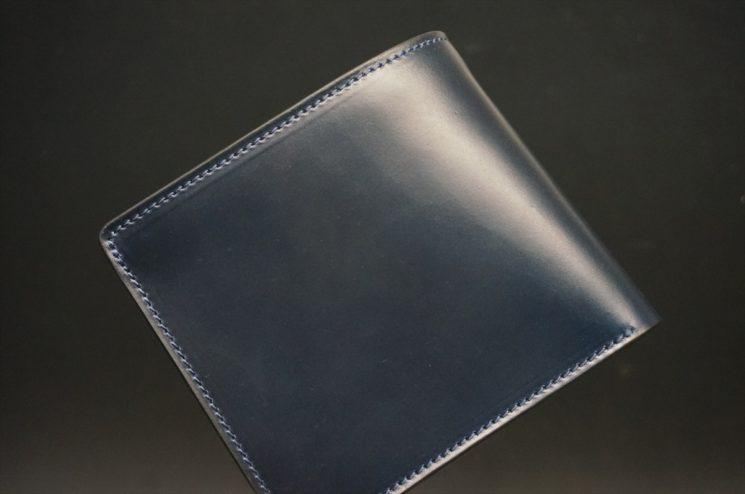 レーデルオガワ社製オイル仕上げコードバンのネイビー色の二つ折り財布(ゴールド色)-1-1