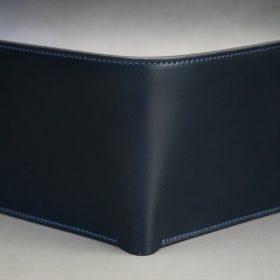 レーデルオガワ社製オイル仕上げコードバンのネイビー色の二つ折り財布(ゴールド色)-1-2