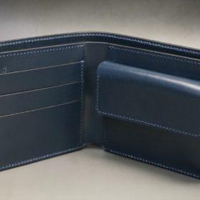 レーデルオガワ社製オイル仕上げコードバンのネイビー色の二つ折り財布(ゴールド色)-1-5