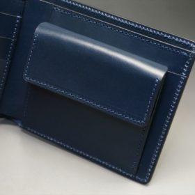 レーデルオガワ社製オイル仕上げコードバンのネイビー色の二つ折り財布(ゴールド色)-1-7