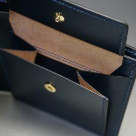 レーデルオガワ社製オイル仕上げコードバンのネイビー色の二つ折り財布(ゴールド色)-1-8