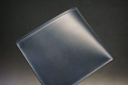 レーデルオガワ社製オイル仕上げコードバンのネイビー色の二つ折り財布(ゴールド色)-2-1