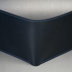 レーデルオガワ社製オイル仕上げコードバンのネイビー色の二つ折り財布(ゴールド色)-2-2