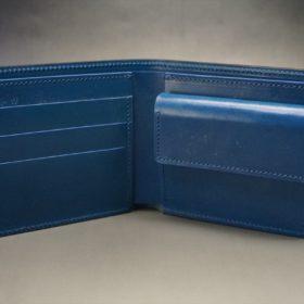 レーデルオガワ社製オイル仕上げコードバンのネイビー色の二つ折り財布(ゴールド色)-2-5