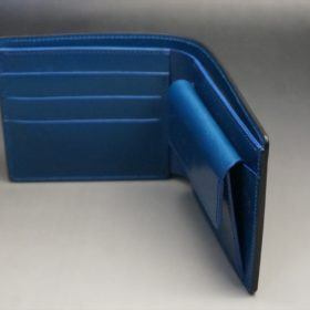 レーデルオガワ社製オイル仕上げコードバンのネイビー色の二つ折り財布(ゴールド色)-2-6