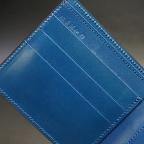 レーデルオガワ社製オイル仕上げコードバンのネイビー色の二つ折り財布(ゴールド色)-2-7
