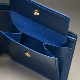 レーデルオガワ社製オイル仕上げコードバンのネイビー色の二つ折り財布(ゴールド色)-2-9