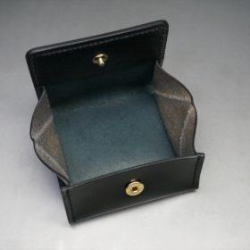 新喜皮革社製オイル仕上げコードバンのブラック色の小銭入れ(ゴールド色)-1-8