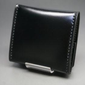 新喜皮革社製オイルコードバンのブラック色の小銭入れ(ゴールド色)-2-4