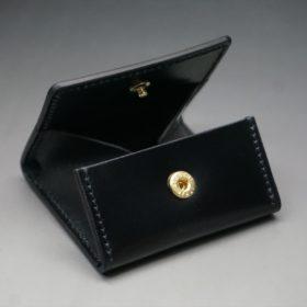 新喜皮革社製オイルコードバンのブラック色の小銭入れ(ゴールド色)-2-6