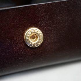新喜皮革社製オイルコードバンのバーガンディ色の小銭入れ(ゴールド色)-1-10