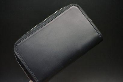 ロカド社製オイルコードバンのブラック色のラウンドファスナー小銭入れ(シルバー色)-1-1