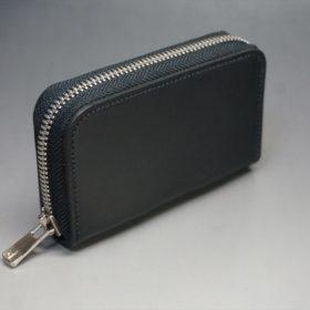 ロカド社製オイルコードバンのブラック色のラウンドファスナー小銭入れ(シルバー色)-1-2