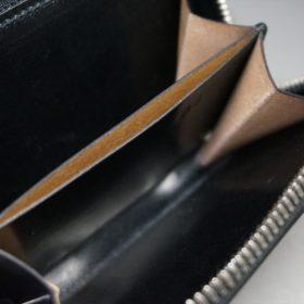 ロカド社製オイルコードバンのブラック色のラウンドファスナー小銭入れ(シルバー色)-1-9