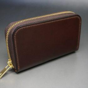 ロカド社製オイルコードバンのバーガンディ色のラウンドファスナー小銭入れ(ゴールド色)-2-2