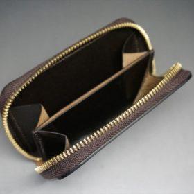 ロカド社製オイルコードバンのバーガンディ色のラウンドファスナー小銭入れ(ゴールド色)-2-8