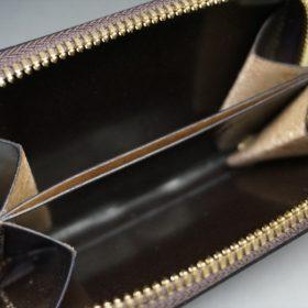 ロカド社製オイルコードバンのバーガンディ色のラウンドファスナー小銭入れ(ゴールド色)-2-9
