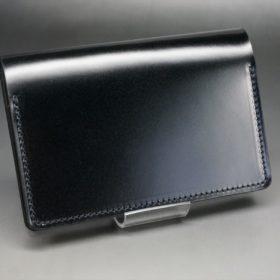 新喜皮革社製オイルコードバンのブラック色の名刺入れ-1-2