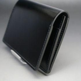 新喜皮革社製オイルコードバンのブラック色の名刺入れ-1-3