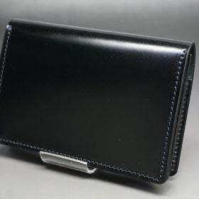 新喜皮革社製オイルコードバンのブラック色の名刺入れ-1-4