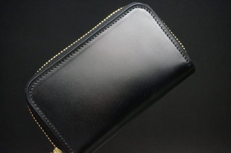 新喜皮革社製オイルコードバンのブラック色のラウンドファスナー小銭入れ(ゴールド色)-1-1