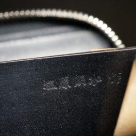 新喜皮革社製オイルコードバンのブラック色のラウンドファスナー小銭入れ(ゴールド色)-1-10