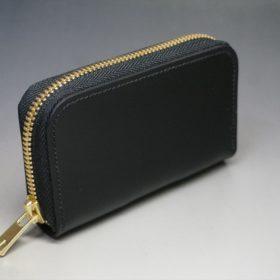 新喜皮革社製オイルコードバンのブラック色のラウンドファスナー小銭入れ(ゴールド色)-1-2