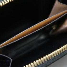 新喜皮革社製オイルコードバンのブラック色のラウンドファスナー小銭入れ(ゴールド色)-1-9