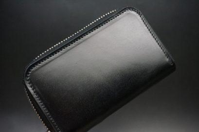 新喜皮革社製オイルコードバンのブラック色のラウンドファスナー小銭入れ(シルバー色)-1-1