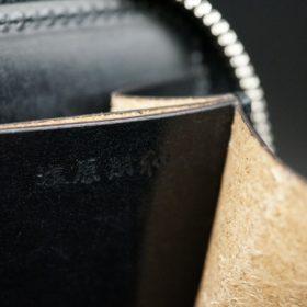 新喜皮革社製オイルコードバンのブラック色のラウンドファスナー小銭入れ(シルバー色)-1-10