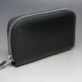 新喜皮革社製オイルコードバンのブラック色のラウンドファスナー小銭入れ(シルバー色)-1-2