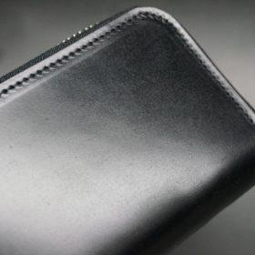 新喜皮革社製オイルコードバンのブラック色のラウンドファスナー小銭入れ(シルバー色)-1-3