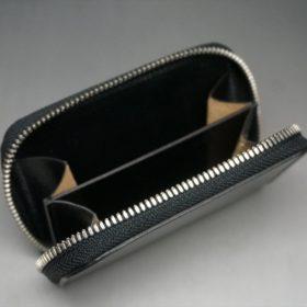 新喜皮革社製オイルコードバンのブラック色のラウンドファスナー小銭入れ(シルバー色)-1-7