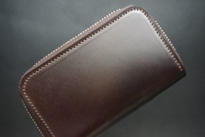 新喜皮革社製オイルコードバンのバーガンディ色のラウンドファスナー小銭入れ(シルバー色)-1-1