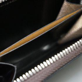 新喜皮革社製オイルコードバンのバーガンディ色のラウンドファスナー小銭入れ(シルバー色)-1-9