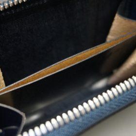 新喜皮革社製オイルコードバンのネイビー色のラウンドファスナー小銭入れ(シルバー色)-1-12